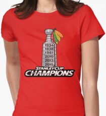 Chicago BlackHawks Stanley Cup Champions Women's Fitted T-Shirt