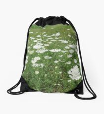 Field of Queen Anne's Lace Drawstring Bag