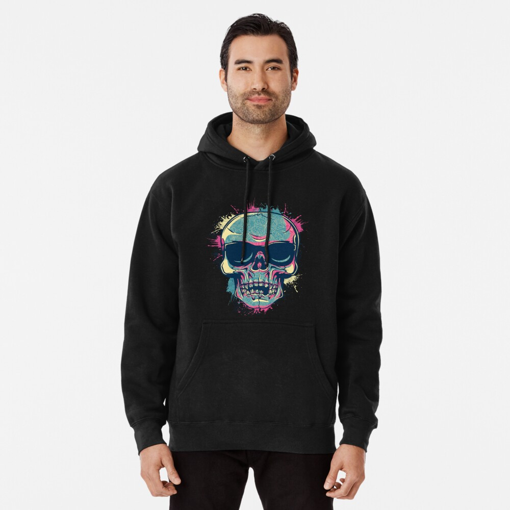 Colorful skull Pullover Hoodie Front