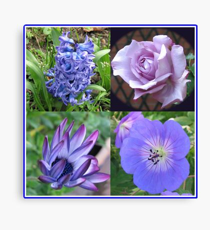 Blue Beauties Collage -  A Floral Study in Blue Leinwanddruck