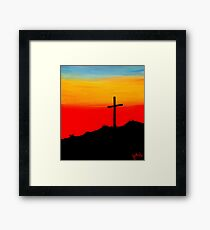 """Sunset Cross"" Framed Print"