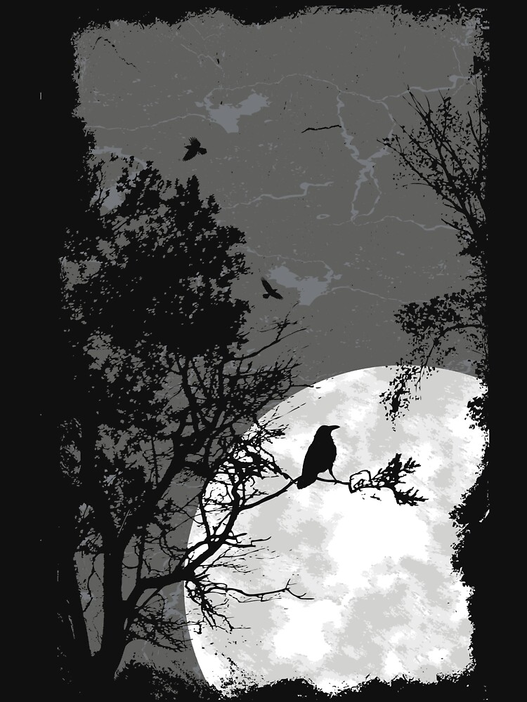 Raven at night in the full moon black bird by designhp