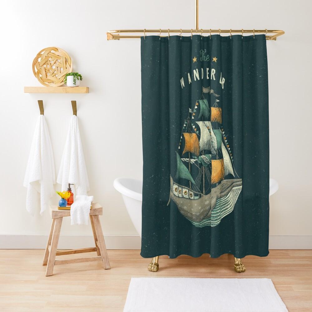 Whale   Petrol Grey Shower Curtain