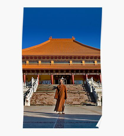 Portraits: Venerable Ru Yi in front of the Main temple at Nan Tien Temple, Berkeley NSW Poster
