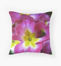 Pink Primulas Throw Pillow
