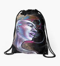 Man Human zen black goth Buddhism philosophy buddhist Drawstring Bag
