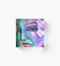 Woman Girl Female Lady Beach Mermaid Fairy Rainbow Flower Acrylic Block