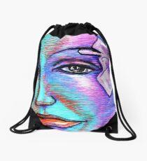 Woman Girl Female Lady Beach Mermaid Fairy Rainbow Flower Drawstring Bag