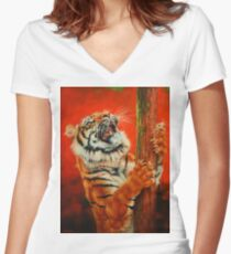 Tiger Tiger Burning Bright Women's Fitted V-Neck T-Shirt