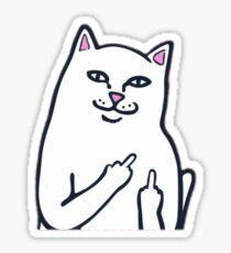cat middle finger Sticker