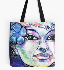 woman girl female lady pixie fairy nymph siren mermaid blue Tote Bag