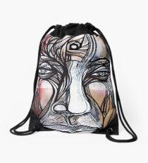 Man Human guy dude spiral head face portrait Drawstring Bag