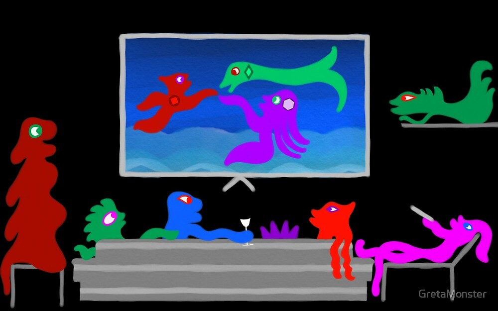 Happy Monsters Watching TV - Transparent Background  by GretaMonster
