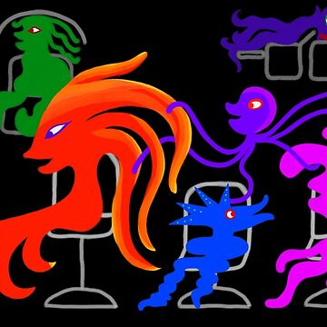 Happy Monsters in the Hair Salon - Transparent Background  by GretaMonster