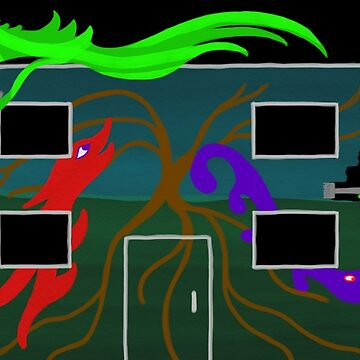 Happy Monsters Painting a Mural - Transparent Background  by GretaMonster