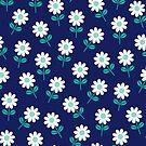 Frühlingsgänseblümchen auf Navy von daisy-beatrice