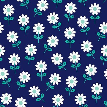 Spring Daisies on Navy by daisy-beatrice