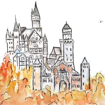 Castillo de Neuschwanstein de tinta y acuarela. de ColorandColor