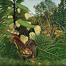 Henri Rousseau - The Jungle - Tiger Attacking A Buffalo  by STYLESYNDIKAT