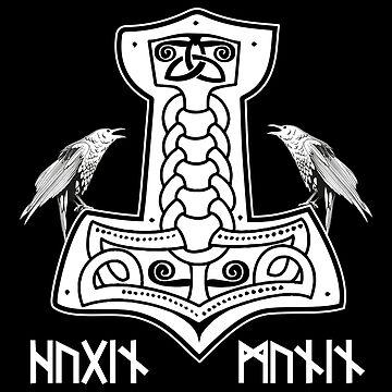 Epic Thor Hammer Hugin Munin Raven Viking Norse Mythology Runes Shirt by stearman