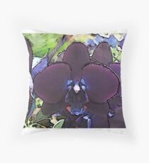 Deep Purple Orchid Artwork Throw Pillow