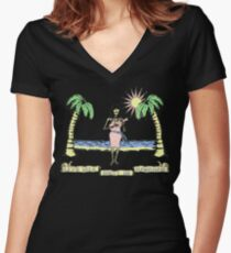 """Let's Talk Dirty In Hawaiian"" (faded) Women's Fitted V-Neck T-Shirt"