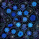 Beaded Blue Floral Stitching by CheriesArt