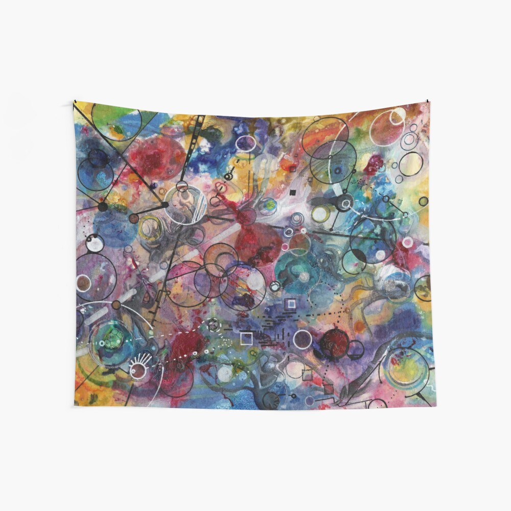 Portals, ink and mixed media on paper composite panel Wall Tapestry