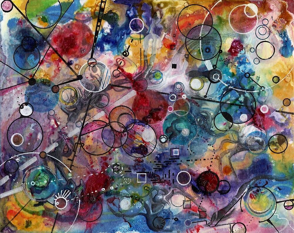 Portals, ink and mixed media on paper composite panel by Regina Valluzzi