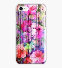 Vintage Bright Chic Floral Pattern Purple Wood iPhone Case/Skin