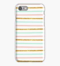 Modern Girly Pink Teal Gold Glitter Stripe Pattern iPhone Case/Skin