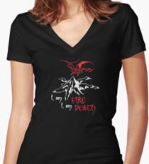 I AM FIRE... I AM DEATH. Women's Fitted V-Neck T-Shirt