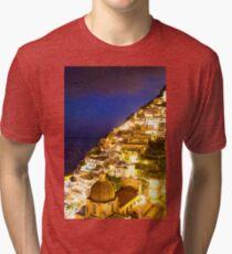 Positano Italy At Night Tri-blend T-Shirt
