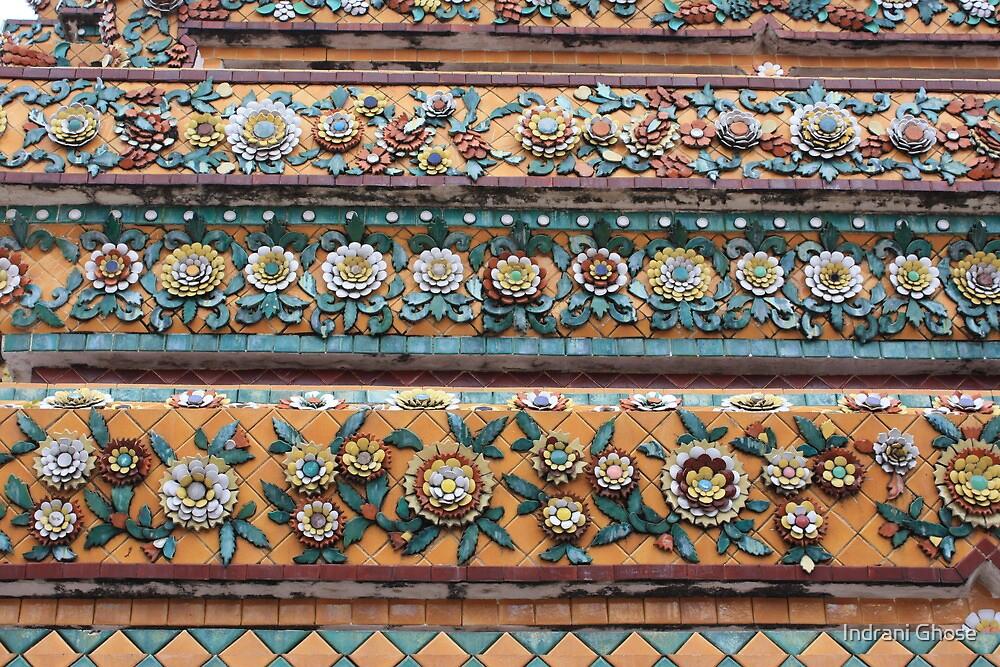 On the walls of the Chedis of Wat Pho, Bangkok by Indrani Ghose