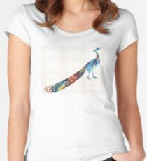 Colorful Peacock Art By Sharon Cummings Women's Fitted Scoop T-Shirt