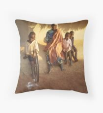 A grandmother with orphaned children, Malawi Throw Pillow
