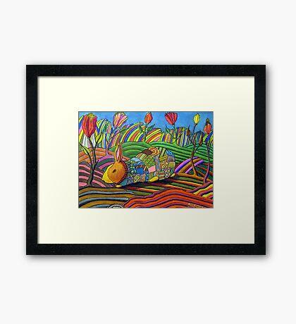 301 - PATCHWORK BUNNY - DAVE EDWARDS - COLOURED PENCILS & INK - 2010 Framed Print