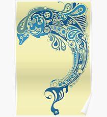 Blue dolphin - unique sea artwork   Poster