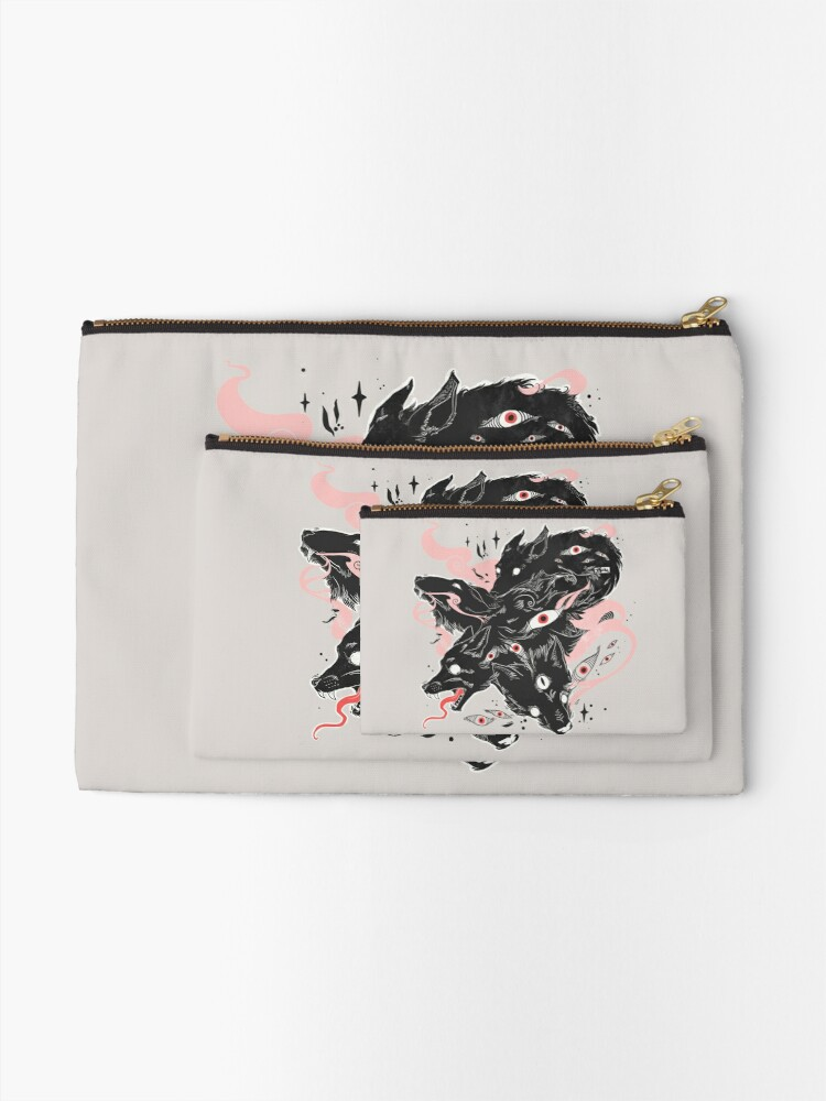Alternate view of Wild Wolves With Many Eyes Zipper Pouch