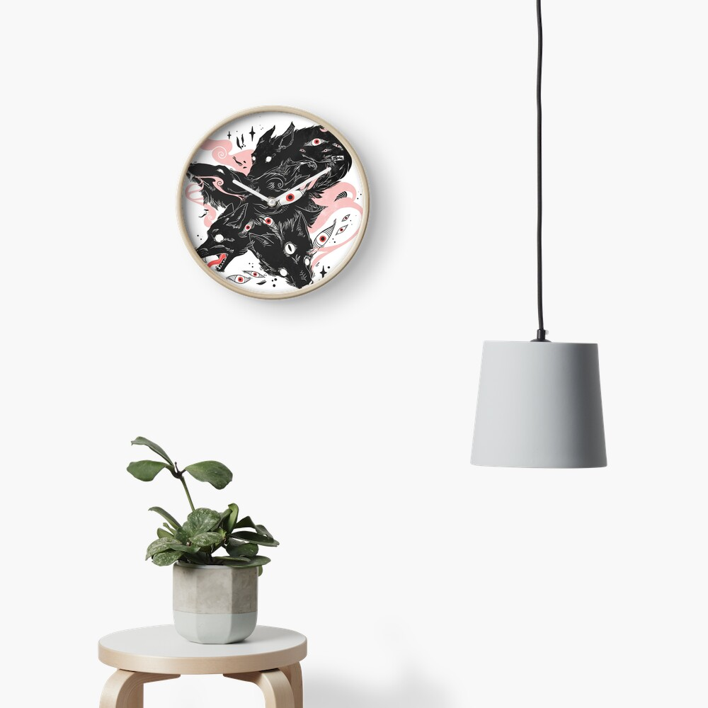 Wild Wolves With Many Eyes Clock