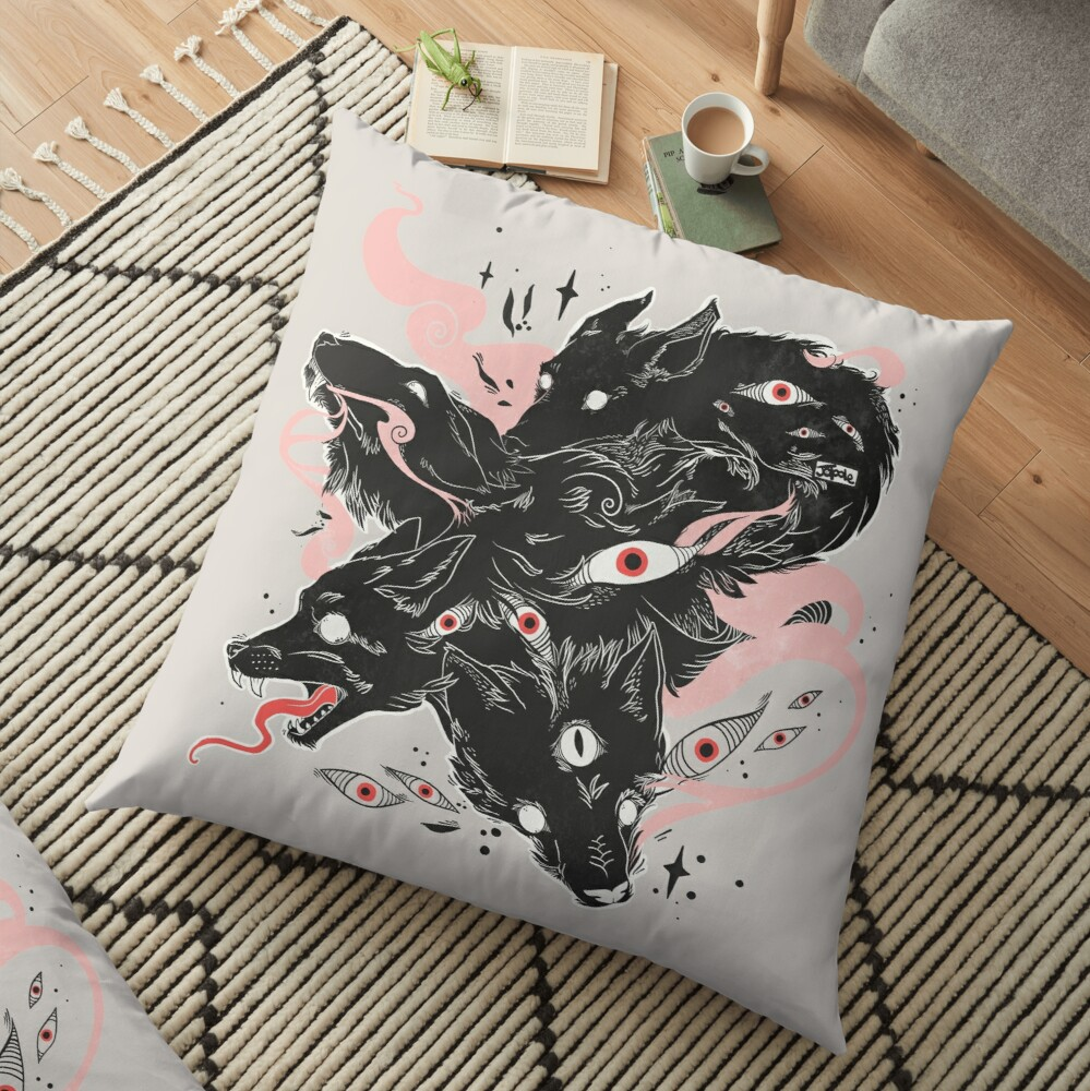 Wild Wolves With Many Eyes Floor Pillow