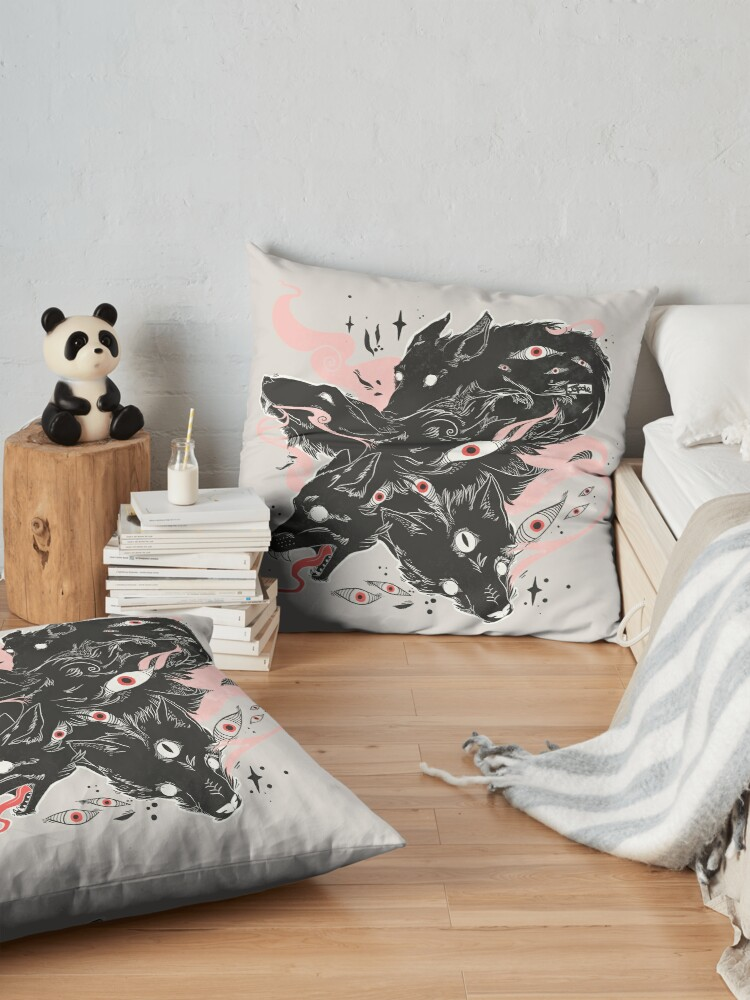 Alternate view of Wild Wolves With Many Eyes Floor Pillow