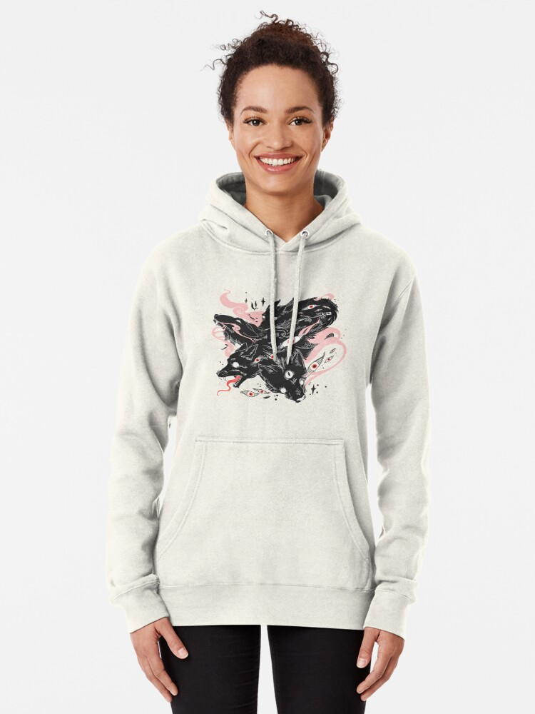 Alternate view of Wild Wolves With Many Eyes Pullover Hoodie