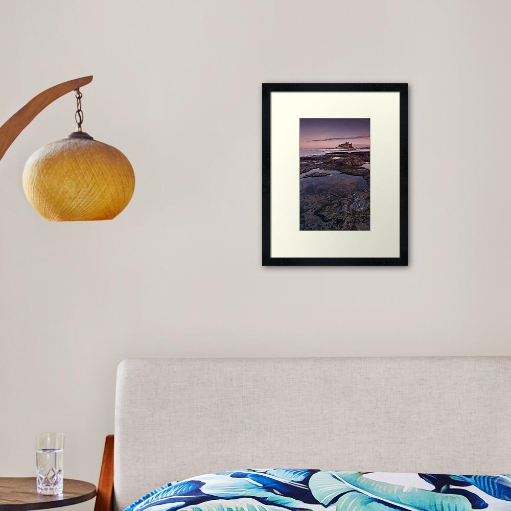 Bamburgh Castle Sunset and Rock Pool Framed Art Print