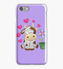 Little cow in love iPhone Case/Skin
