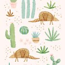 Armadillos in the Desert by latheandquill