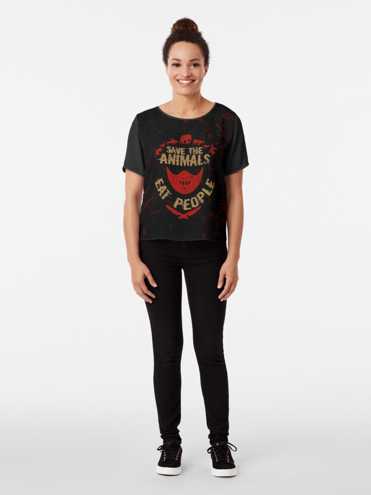 Alternate view of save the animals, EAT PEOPLE Chiffon Top