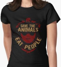 save the animals, EAT PEOPLE Women's Fitted T-Shirt