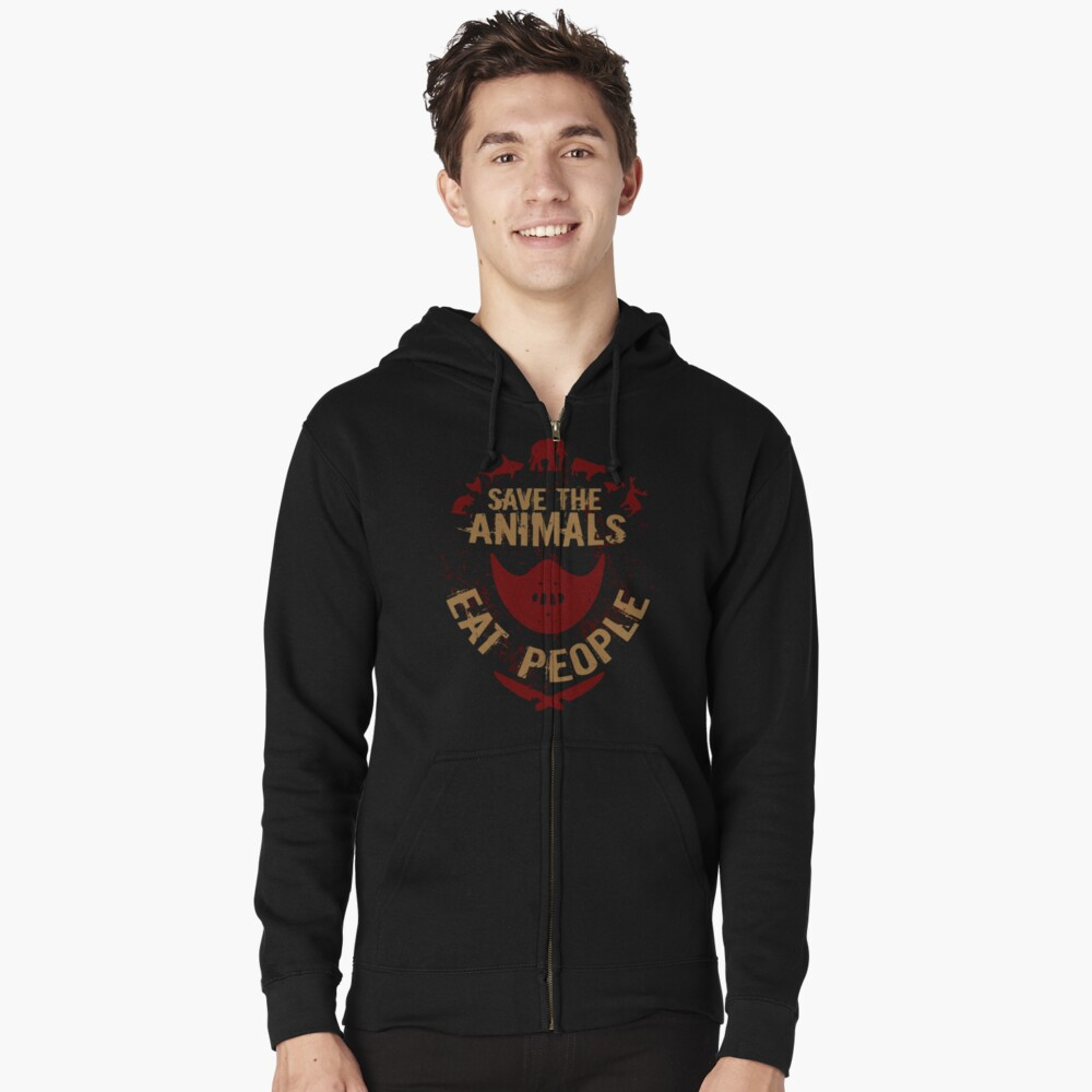 save the animals, EAT PEOPLE Zipped Hoodie