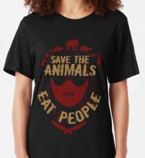 save the animals, EAT PEOPLE Slim Fit T-Shirt